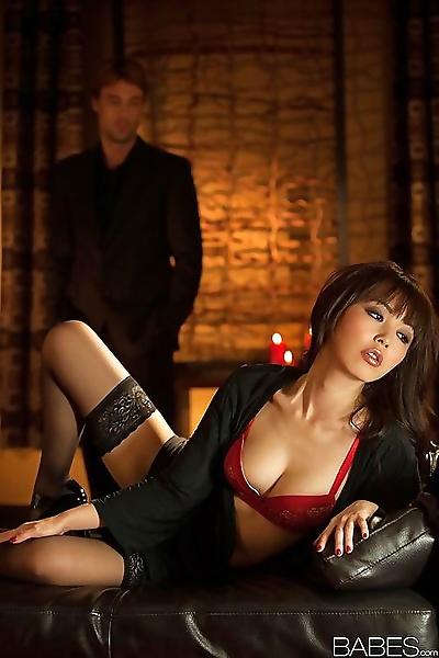 Stocking attired Asian..