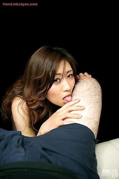 Naked Japanese chick eats..