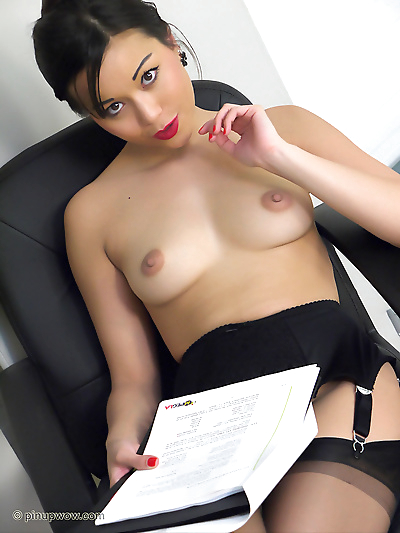 Wonderful Asian secretary strips to her provocative stockings and shows tits