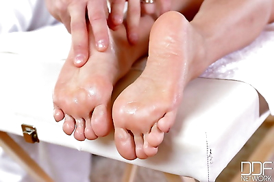 Busty Asian mom Tigerr BEnson having painted toes suckled and massaged